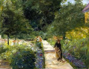 Max Liebermann - The Cutting Garden in Wannsee toward the West, with a Woman Gardener on the Path