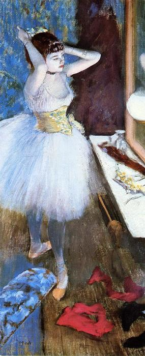 famous painting Dancer in Her Dressing Room of Edgar Degas
