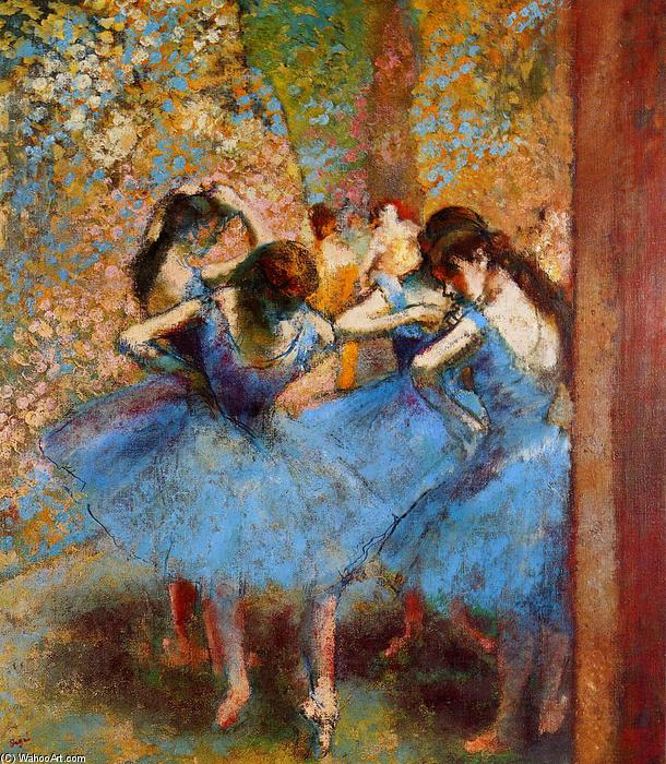 famous painting Dancers in Blue of Edgar Degas