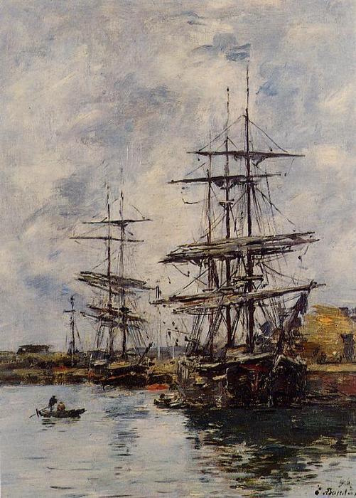 famous painting Deauville, Ships at Dock of Eugène Louis Boudin