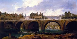 Hubert Robert - Demilishing the Buildings on the Pont Notre-Dame in Paris, 1786