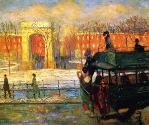 William James Glackens - Descending from the Bus