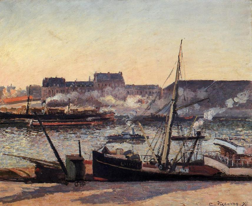 famous painting The Docks, Rouen: Afternoon of Camille Pissarro