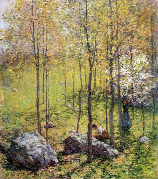famous painting Dogwood Blossoms of Willard Leroy Metcalf