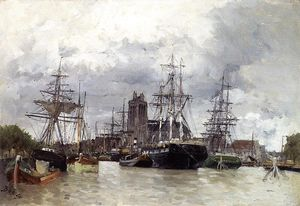 Frank Myers Boggs - Dordrecht Harbor with Shipping and Cathedral