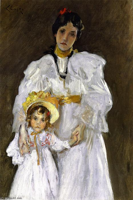 famous painting Double Portrait: A Sketch (also known as Sketch for the Portrait of Mother and Child) of William Merritt Chase