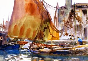 John Singer Sargent - Drying Sails (also known as Venetian Fishing Boats)