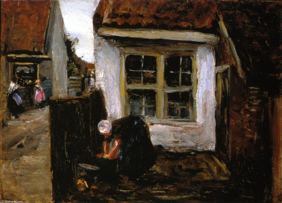 famous painting Dutch Farmhouse with Woman of Max Liebermann