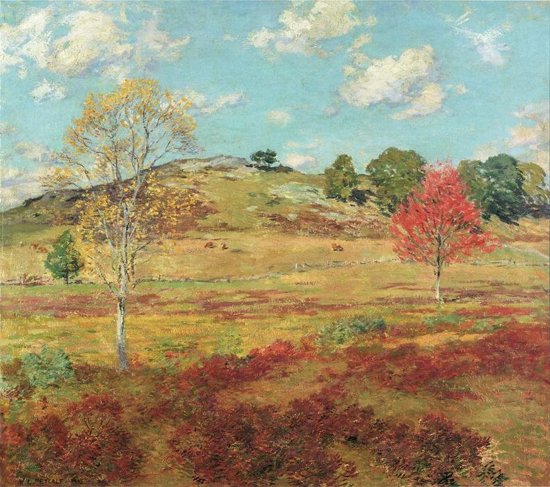 famous painting Early Autumn of Willard Leroy Metcalf