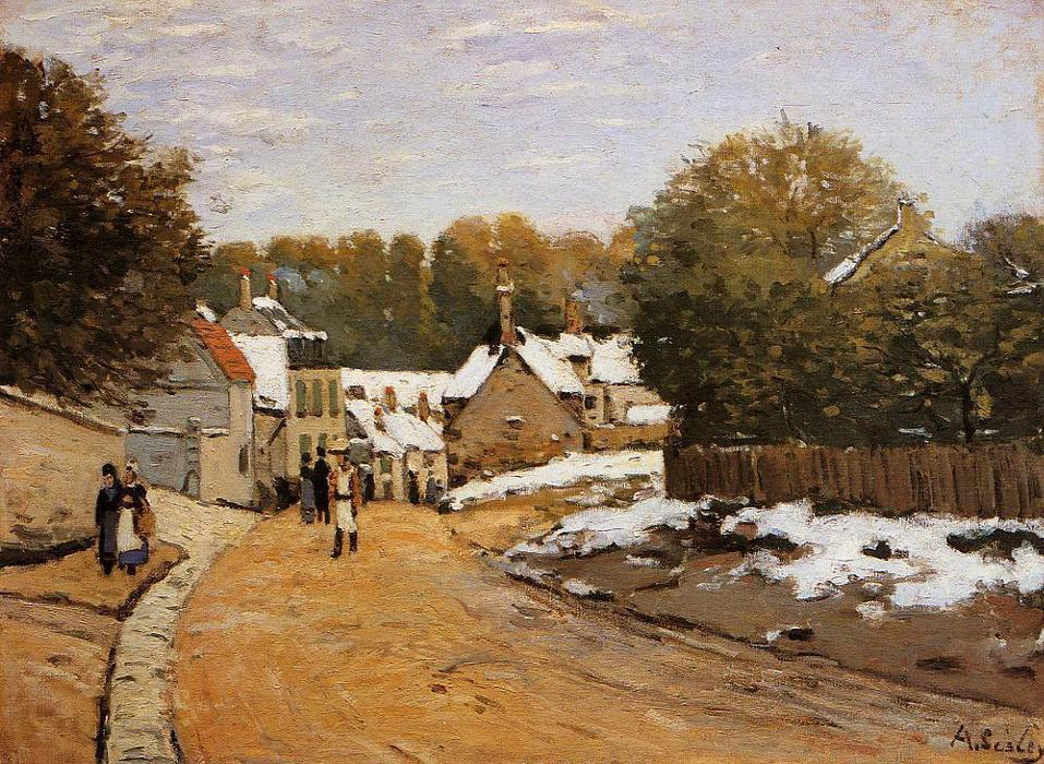 famous painting Early Snow at Louveciennes (also known as Rue de Voisins, Louveciennes: First Snow) of Alfred Sisley