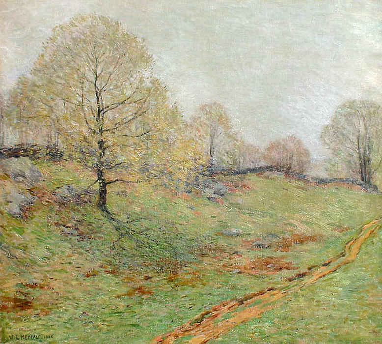 famous painting Early Spring, Old Lyme of Willard Leroy Metcalf