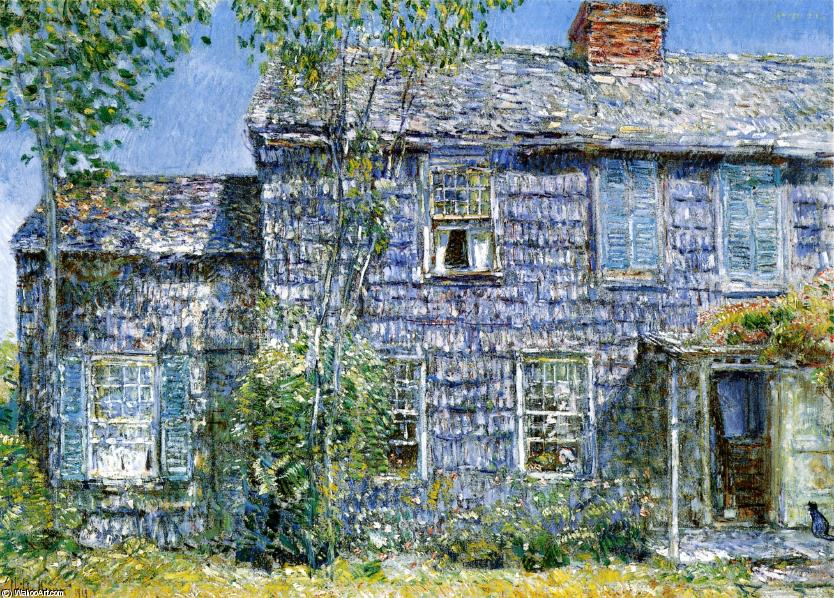 famous painting East Hampton, L.I. (also known as Old Mumford House) of Frederick Childe Hassam