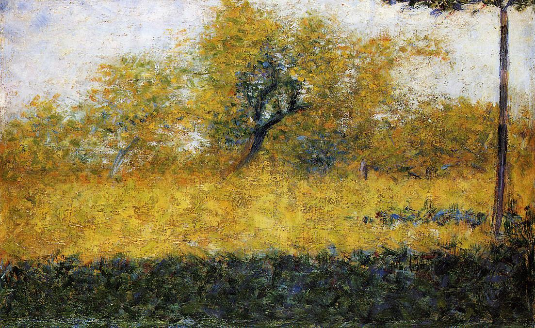 famous painting Edge of Wood, Springtime of Georges Pierre Seurat