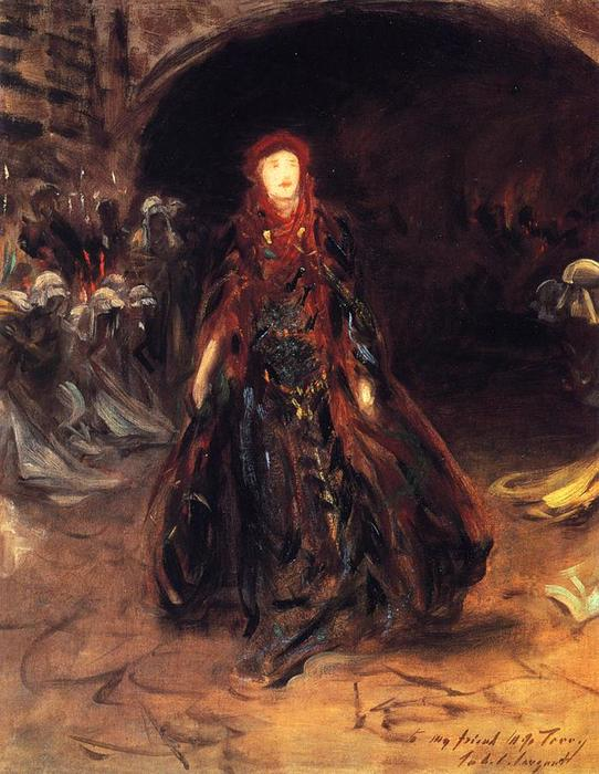 famous painting Ellen Terry as Lady Macbeth (sketch) of John Singer Sargent
