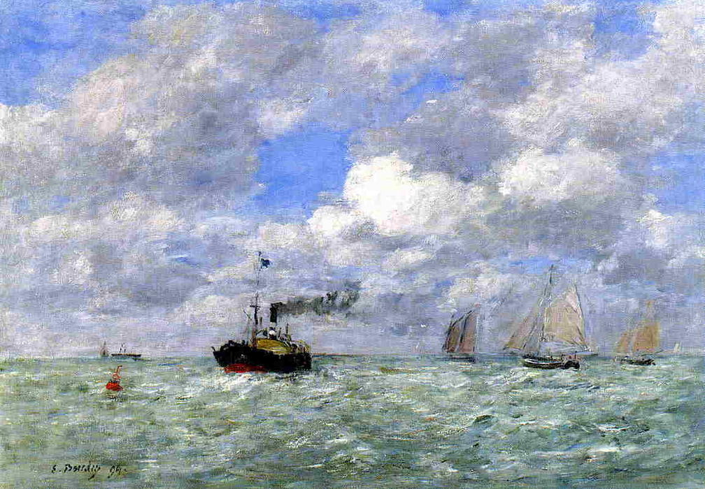 famous painting English Coal Ship in View of Trouville of Eugène Louis Boudin