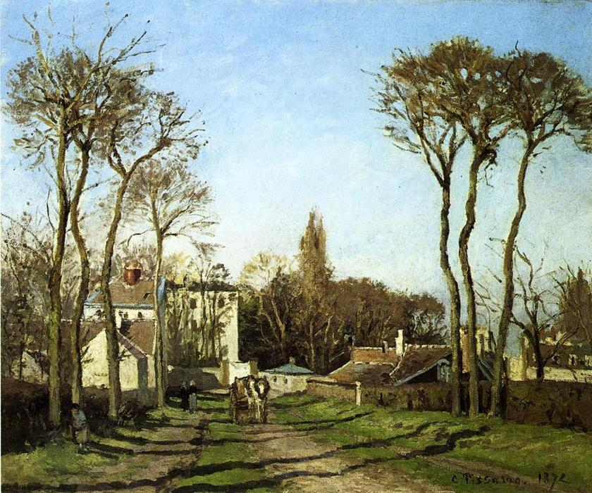 famous painting Entering the Village of Voisins of Camille Pissarro