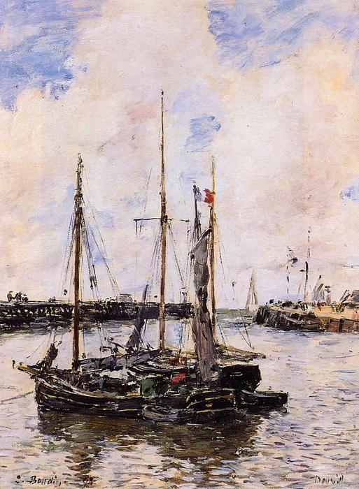 famous painting Entrance to the Port of Trouville of Eugène Louis Boudin