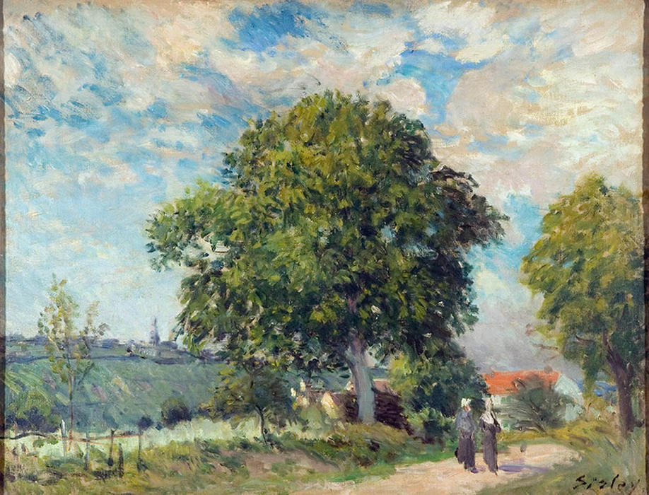 famous painting Entrance to the Village of Alfred Sisley
