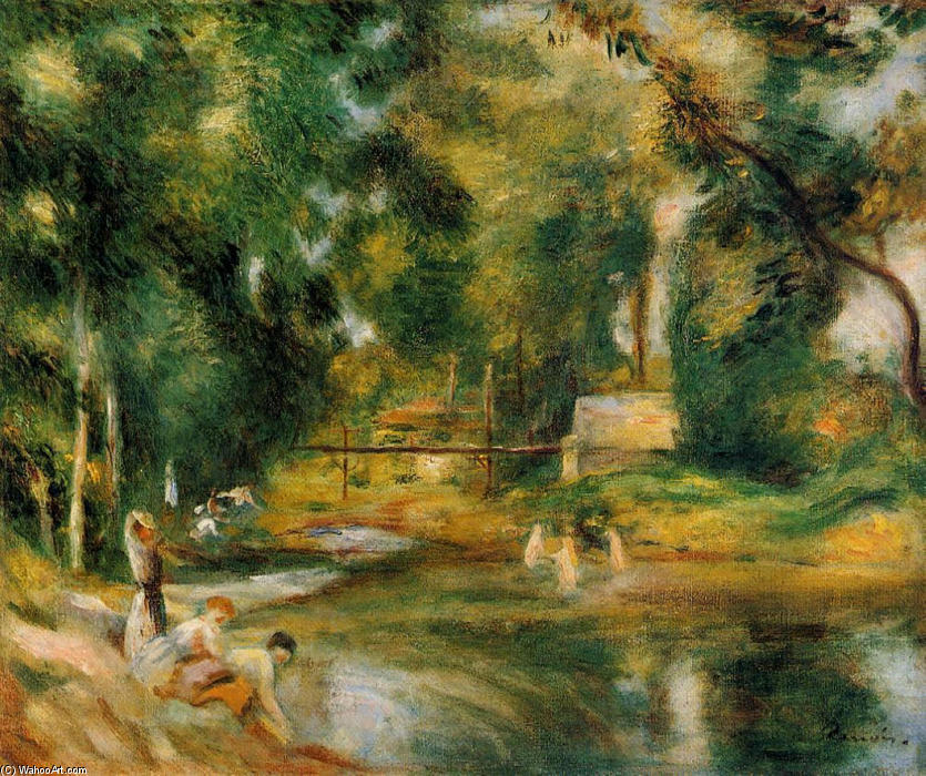 famous painting Essoyes Landscape Washerwoman and Bathers of Pierre-Auguste Renoir