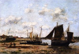 Eugène Louis Boudin - Étaples, Low Tide, Beached Boats