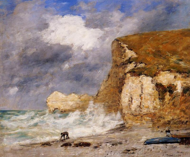 famous painting Etretat: the Amont Cliff in November of Eugène Louis Boudin