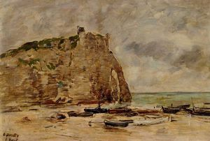 Eugène Louis Boudin - Etretat, Beached Boats and the Cliff of Aval