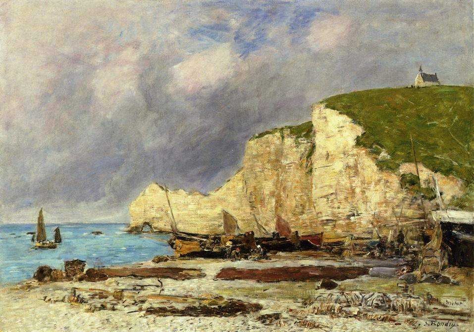 famous painting Etretat, Beached Boats and Falaise d'Amont of Eugène Louis Boudin