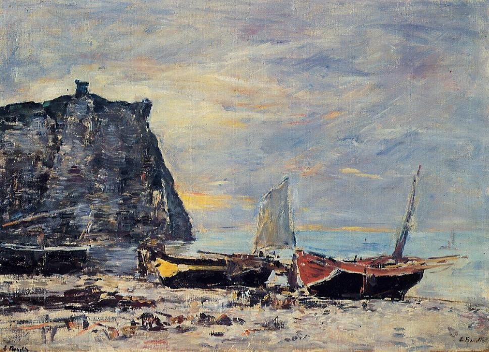 famous painting Etretat, the Cliff of Aval of Eugène Louis Boudin