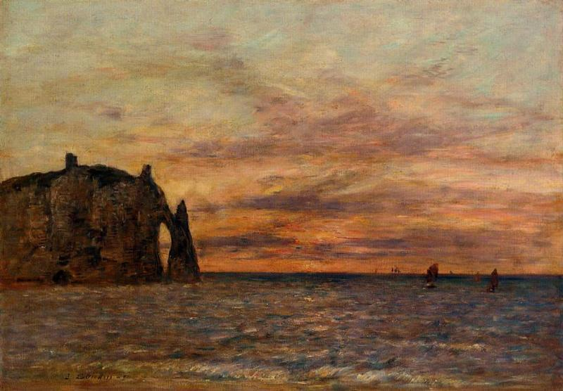 famous painting Etretat: the Falaise d'Aval at Sunset of Eugène Louis Boudin
