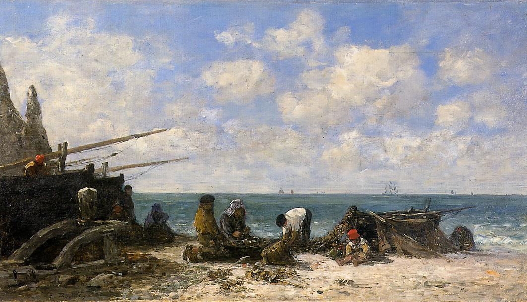 famous painting Etretat: Fishermen on the Beach of Eugène Louis Boudin