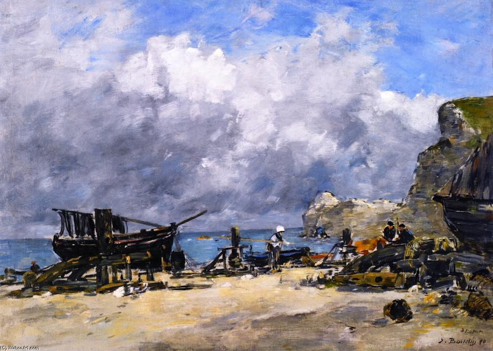 famous painting Étretat, Fishing Boats and Fishermen on the Beach of Eugène Louis Boudin
