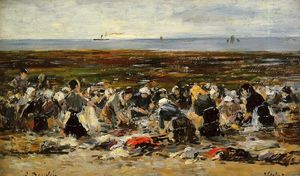 Eugène Louis Boudin - Etretat, Laundresses on the Beach, Low Tide
