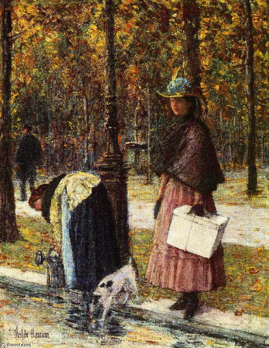 famous painting Evening, Champs-Elysees (also known as Pres du Louvre) of Frederick Childe Hassam