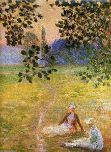 Claude Monet - Evening in the Meadow at Giverny (detail)