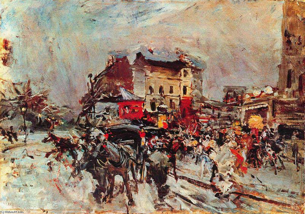 famous painting Exit of a Costumes Ball in Montmartre of Giovanni Boldini
