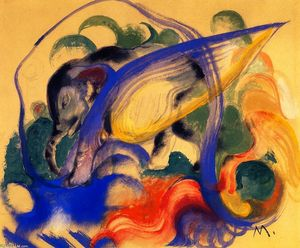 Franz Marc - Fabulous Beast (also known as Grey Elephant)