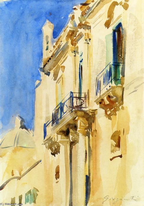 famous painting Facade of a Palazzo, Girgente, Sicily of John Singer Sargent