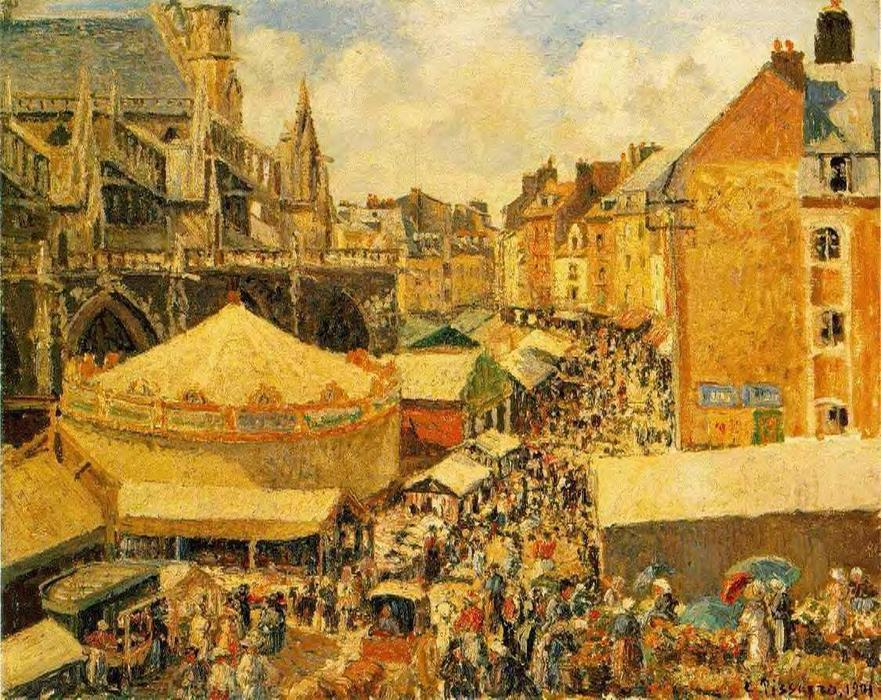 famous painting The Fair in Dieppe: Sunny Morning of Camille Pissarro
