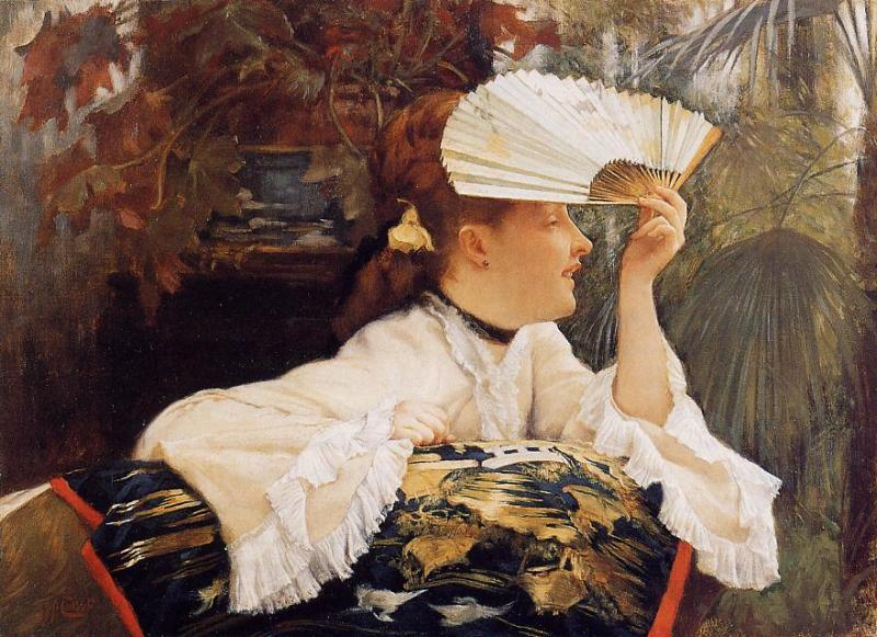 famous painting The Fan of James Jacques Joseph Tissot