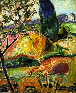 Alfred Henry Maurer - Fauve Landscape (also known as Landscape near Oberstdorf - Autumn)
