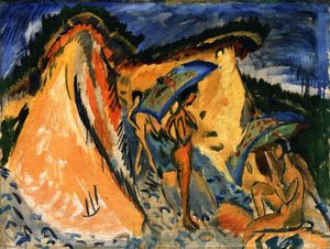 Ernst Ludwig Kirchner - Fehmarn Dunes with Bathers under Japanese Umbrellas