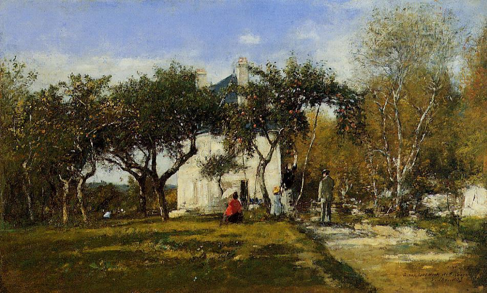 famous painting Fervaques, Garden and House of Monsieur Jacuette of Eugène Louis Boudin
