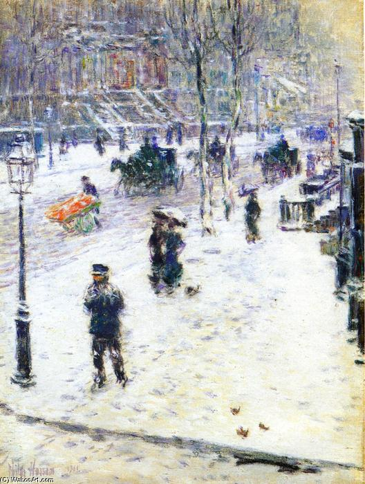 famous painting Fifth Avenue in Winter of Frederick Childe Hassam