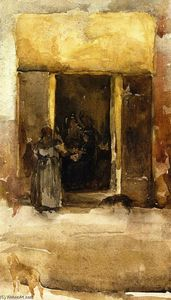 James Abbott Mcneill Whistler - Figures in a Doorway