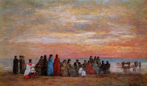 Eugène Louis Boudin - Figures on the Beach at Trouville
