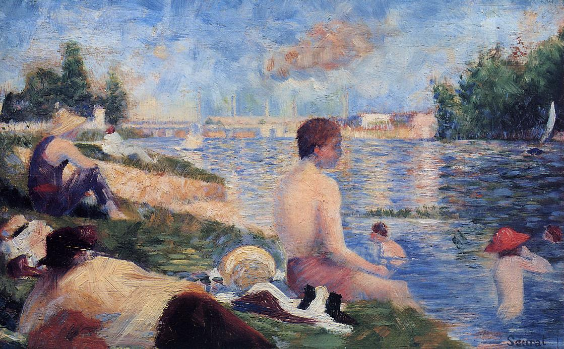 famous painting Final Study for Bathing at Asnieres of Georges Pierre Seurat
