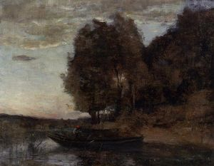 Jean Baptiste Camille Corot - Fisherman Boating along a Wooded Landscape