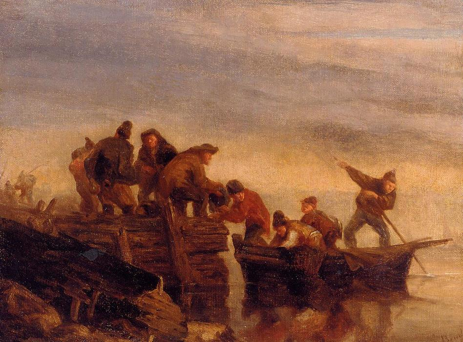 famous painting Fishermen by the Water of Eugène Louis Boudin