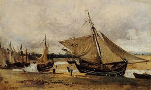 Jean Baptiste Camille Corot - Fishing Boars Beached in the Chanel