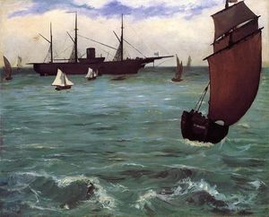 Edouard Manet - Fishing Boat Coming in Before the Wind (also known as The Kearsarge at Bologne)